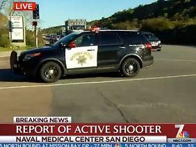 Erste Bilder aus dem US-Fernsehen: Der Sender NBC7 zeigt Aufnahmen vom Tatort.
