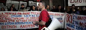 Arbeitslose Arbeiter protestieren vor dem Arbeitsministerium in Athen gegen die Rentenreform.