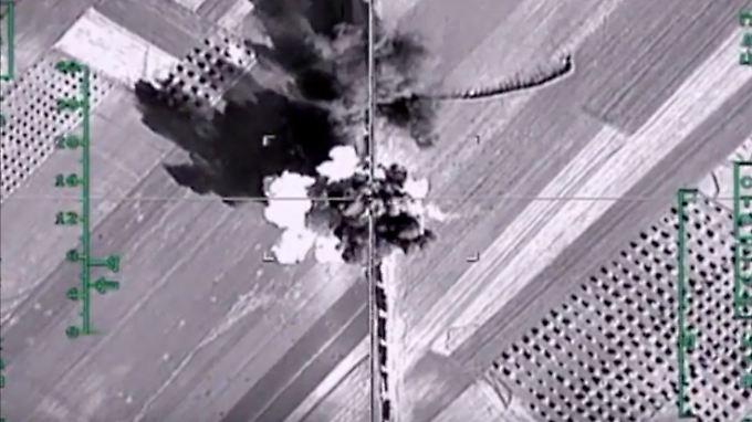 Aufnahme der aktuellen russischen Luftangriffe in Aleppo.