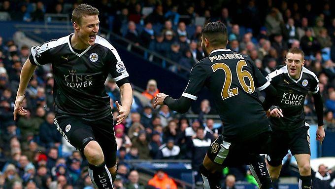 Mit seinem Doppelpack ist Robert Huth Leicesters Matchwinner beim 3:1 gegen Man City.
