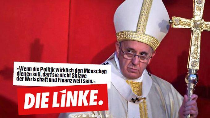 """""""Das Plakat ist kein Fake"""", heißt es bei den Linken, die Papst Franziskus als Zeugen aufrufen."""