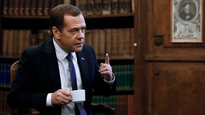 Dmitri Medwedew am Rande der Sicherheitskonferenz.