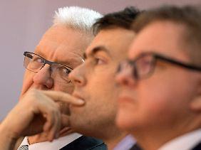 Kretschmanns potenzielle Koalitionspartner: Nils Schmid (SPD) und Guido Wolf (CDU) (v.l.)