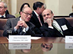 Greenspan mit seinem Nachfolger Ben Bernanke.