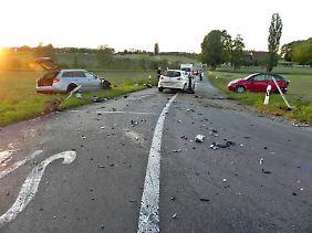 Ullrich verursachte einen Autounfall in der Nähe von Mattwil im Kanton Thurgau. Sein Auto ist auf dem Bild links zu sehen.