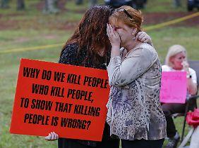 Gegner der Todesstrafe demonstrieren in den USA (Bild von September 2015).