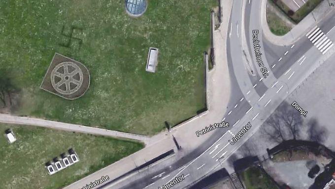 Vergrößerung des Erfurter Petersberges bei Google Maps.