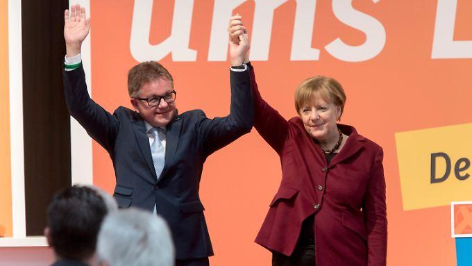 Angela Merkel mit dem CDU-Spitzenkandidat im Ländle, Guido Wolf.
