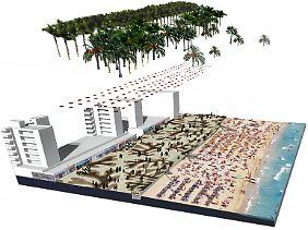Die Fotomontage zeigt die Planungen für den Strand in Palma de Mallorca - mit Mosaikboden und Palmenallee.