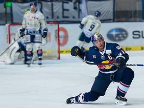 Red Bull Münchens Torjäger Michael Wolf hat erstmals in seiner Karriere das DEL-Halbfinale erreicht.