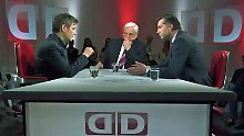 Robert Habeck (l.) und Stephan Mayer (r.) im Gespräch mit Heiner Bremer