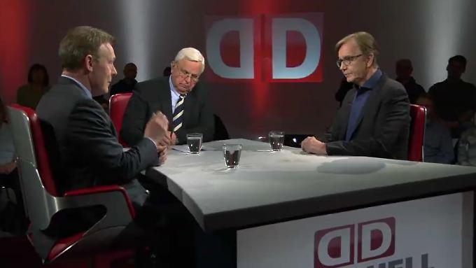 Zu Gast bei Heiner Bremer: Thomas Oppermann und Dietmar Bartsch.