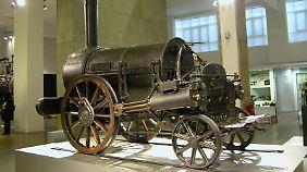 """Lokomotive """"Rocket"""" erreichte 1829 eine Höchstgeschwindigkeit von 48km/h."""