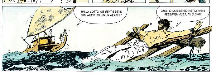 Der erste Auftritt von Corto Maltese: An ein Floß gefesselt wird er aus dem Meer gefischt.