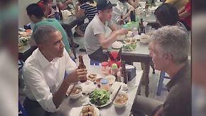 Nudeln und Flaschenbier in Hanoi: Obama lässt sich Sechs-Dollar-Menü schmecken