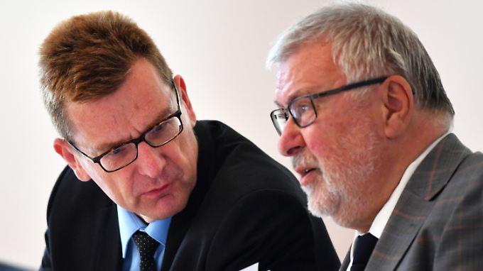 Karsten Mühlenfeld (r.) und der BER-Beauftragte des Landes Brandenburg Rainer Bretschneider.