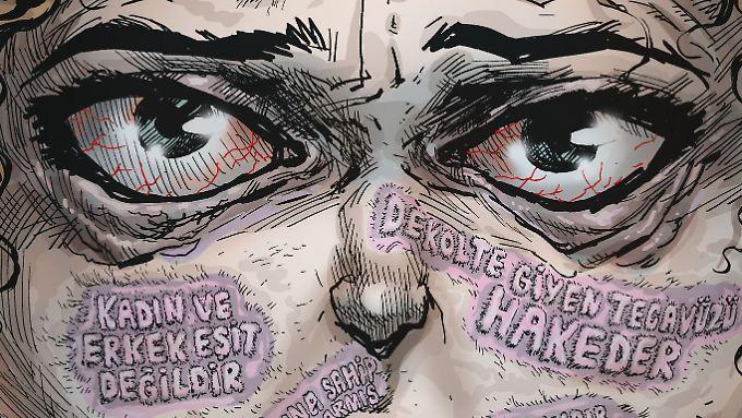 """Cover der Zeitschrift """"Uykusuz"""". Auf dem Gesicht ist zu lesen: """"Gewalt gegen Frauen … übertrieben"""", """"Freizügige Frauen verdienen Vergewaltigung"""", """"Frauen und Männer sind nicht gleich"""", """"Hätten sie besser aufgepasst"""", """"Mädchen oder Frau, egal""""."""
