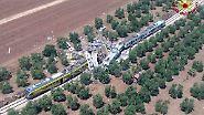 Am späten Vormittag stoßen in der süditalienischen Region Apulien zwei Regionalzüge frontal zusammen.