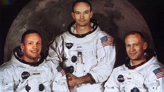 """Die Besatzung von """"Apollo 11"""" im Juli 1969: die Astronauten Neil Armstrong, Michael Collins und Edwin Aldrin (v.l.).  Armstrong starb 2012 an den Folgen einer Bypass-Operation."""