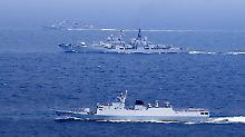 Bei dem Manöver im Ostchinesischen Meer wurden auch Torpedos und Raketen abgefeuert.