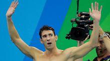 Rechtschaffen erschöpft nach seinem letzten Einsatz: Michael Phelps.