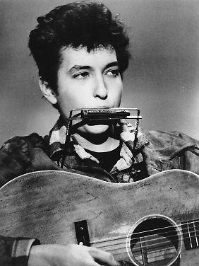 Nur Stimme, Gitarre und Mundharmonika: Bob Dylan 1963.