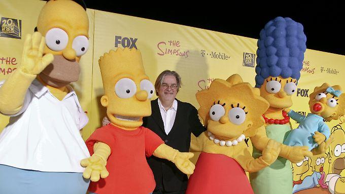 Groening im Kreise seiner Lieben: Homer, Lisa, Marge und Maggie tragen Namen aus seiner eigenen Familie, er selbst ist Bart.