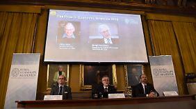 Das Komitee bei der Bekanntgabe des diesjährigen Nobelpreises für Wirtschaftswissenschaften.