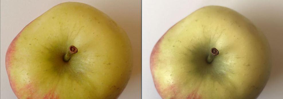 Ähnlicher Eindruck bei diesem Apfel: Das Xperia macht ein wärmeres Licht (l.), das iPhone macht das etwas knackigere Foto.