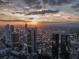 Blick auf das Frankfurter Bankenviertel.