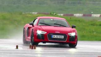 """Drift-Test im Regen: Audi R8 V10 plus """"will nach vorne"""""""