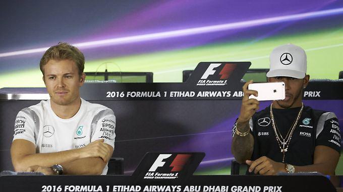 Bei der Pressekonferenz würdigten sich Nico Rosberg und Lewis Hamilton kaum eines Blicks, was durchaus eine bemerkenswerte Leistung war.