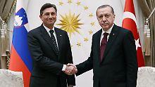 Recep Tayyip Erdogan beim Treffen mit seinem slowenischen Kollegen Borut Pahor.