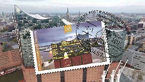 Neues Wahrzeichen von Hamburg: Post gibt Elbphilharmonie-Briefmarke heraus