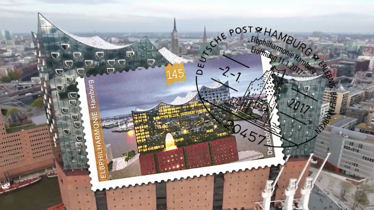 neues wahrzeichen von hamburg post gibt elbphilharmonie briefmarke heraus n. Black Bedroom Furniture Sets. Home Design Ideas
