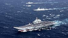 """Pekings Machtansoruch auf hohher See: Der Flugzeugträger """"Liaoning"""", hier im Bild während der Übung im südchinesischen Meer im vergangenen Dezember."""