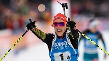Biathtletinnen feiern Staffelsieg: Dahlmeier triumphiert mit Meisterleistung