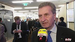 """EU-Haushaltskommissar Oettinger in Davos: """"Wer Zölle erhebt, schadet der Weltwirtschaft"""""""