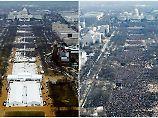 Luftbilder zeigen, dass Obamas Vereidigung 2009 deutlich besser besucht war.