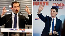 Hamon (l.) und Valls kämpfen um die Präsidentschaftskandidatur der französischen Linken.