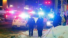 Polizisten sichern die Moschee ab, in der Bissonnette sechs Menschen ermordete und 19 weitere verletzte.