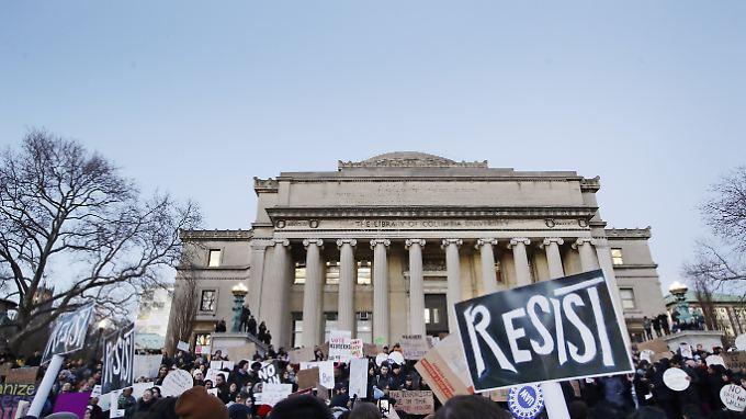 Demonstration auf dem Gelände der Columbia-Universität in New York am 30. Januar.