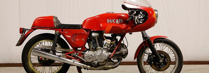 """""""Green Frame"""" trägt diese rote Ducati 750 SS als Zusatzbezeichnung – aber warum? Das Bieten fand erst bei 109.250 Dollar ein Ende."""