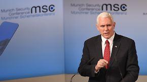 """Pence auf Münchner Sicherheitskonferenz: """"Versichere, dass die USA fest zur Nato steht"""""""