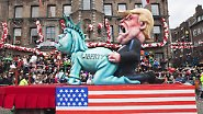 Trump im Visier des Narren-Spotts: Rosenmontagszüge ziehen durch die Straßen