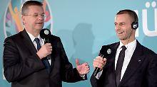 Reinhard Grindel (l.) ist in den Machtzirkel um Uefa-Präsident Aleksander Ceferin gewählt worden.
