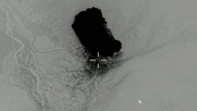 Infrarotaufnahme vom Einschlag der Bombe in Afghanistan