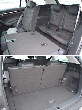 Ist die dritte Sitzreihe aufgerichtet, wird es selbst im Kofferraum des Skoda Kodiaq eng.