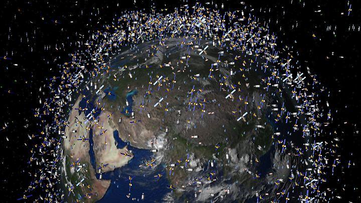 Das computergenerierte Bild zeigt Überreste vergangener Weltraummissionen.