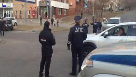 Die Polizei riegelte die Straßen rund um das Büro ab, wie dieses Standbild aus einem Video des Innenministeriums zeigt.